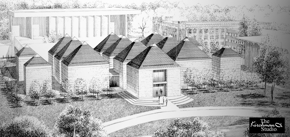 Traditional Ink Rendering of the Jones Museum for Hugh Newell Jacobsen, Architect.
